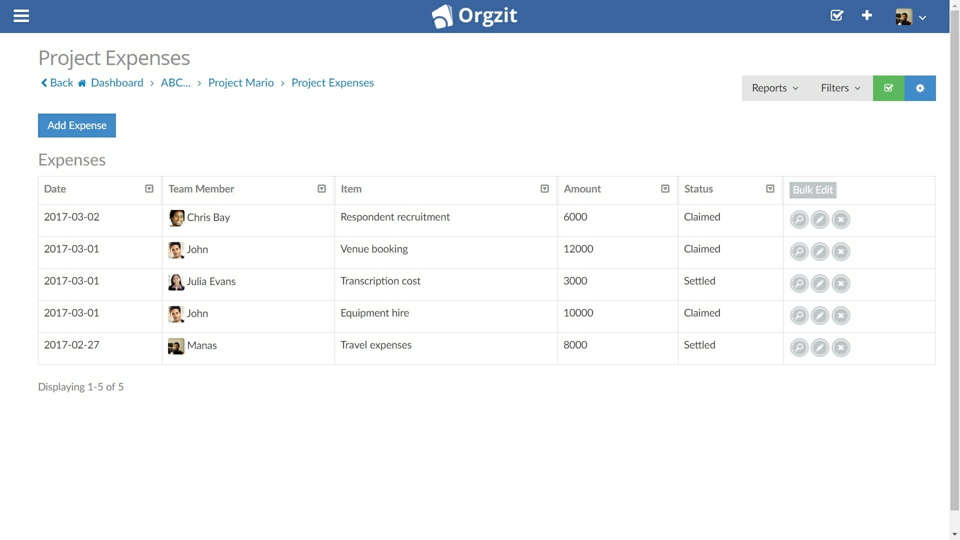 Tracking Project Expenses in Orgzit